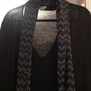 Avenue Black & Silver Sweater with Scarf!